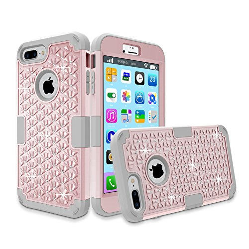 iPhone 7 Plus Case, Anna Shop Studded Rhinestone 3in1 Shockproof Hybrid Full-body Protective Case Hard Cover PC+Silicone Full Body Protective High Impact Defender Cover For iPhone 7 plus (Louis Vuitton Iphone 4 Cover compare prices)
