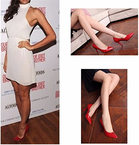 OL Women Solid High Stiletto Heel Fashion Pointed Toe Cocktail Pump Shoes Red fpFFJ