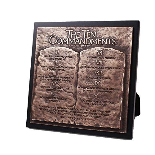 (Lighthouse Christian Products Moments of Faith Ten Commandments Sculpture Plaque, 8 3/4 x 8 3/4