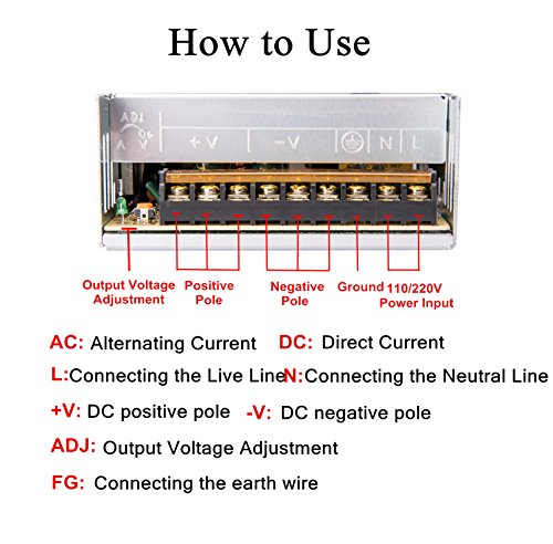 PHEVOS 12v 30a 360Watt Dc Universal Switching Power Supply Pure copper core material transformer for 3D Printer, ham Radio Transceiver, Car Audio Amplifier, Computer Project and LED Strip Light by PHEVOS (Image #3)