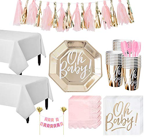Party City Gold & Pink Oh Baby Baby Shower Tableware Kit and Supplies for 32 Guests, Includes Table Covers and More