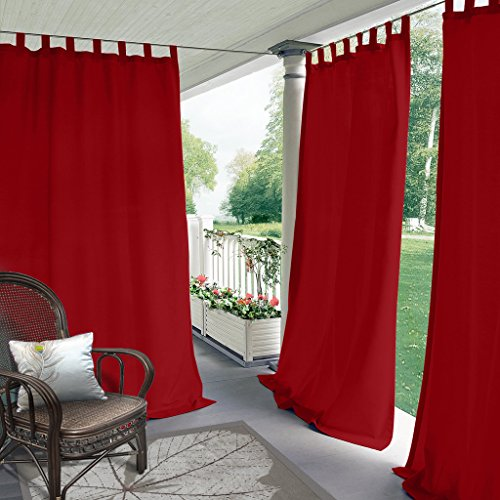 Blackout Outdoor Curtain Tab Top Red 120