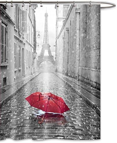 Cortinas de ducha impermeable moho a prueba de molde resistente al Vintage Par/ís Torre Eiffel impreso lavable cortina de ba/ño de poli/éster con resistente ganchos 66/x 72/inch