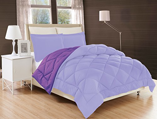 - Elegant Comfort All Season Comforter and Year Round Medium Weight Super Soft Down Alternative Reversible 3-Piece Comforter Set, King, Lavender/Purple