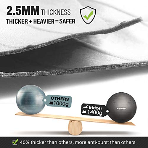 Trideer Exercise Ball (45-85cm) Extra Thick Yoga Ball Chair, Anti-Burst Heavy Duty Stability Ball Supports 2200lbs, Birthing Ball Quick Pump (Office & Home & Gym) (Black, 45cm)