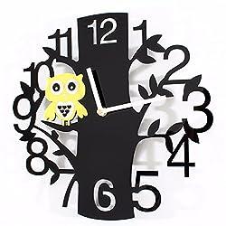 EXDJ Forest animal bird fashion garden wall clock,Art Tree branches Owl Clock,Black Boy