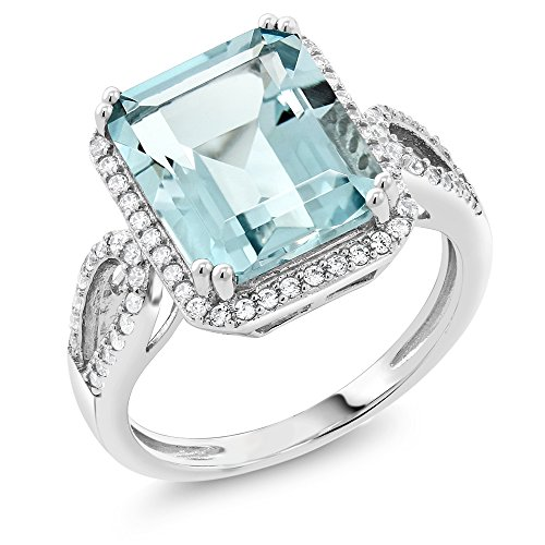 Gem Stone King Sterling Silver Simulated Aquamarine Antique Women's Ring (5.00 cttw Emerald Cut) (March Birthstone Promise Ring)