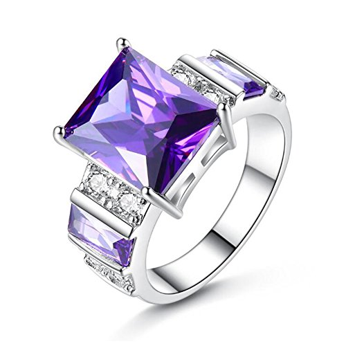TEMEGO Amethyst Square Ring,Princess&Baguette Large Purple CZ Promise Engagement Rings,Size 8 ()