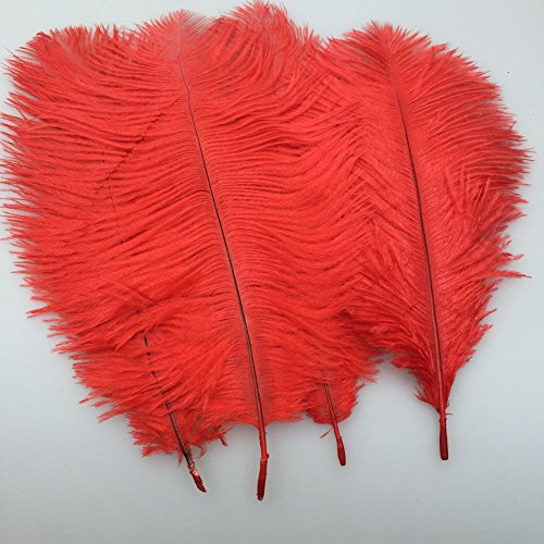 Sowder 20pcs Natural 10-12inch(25-30cm) Ostrich Feathers Plume for Wedding Centerpieces Home Decoration(red )