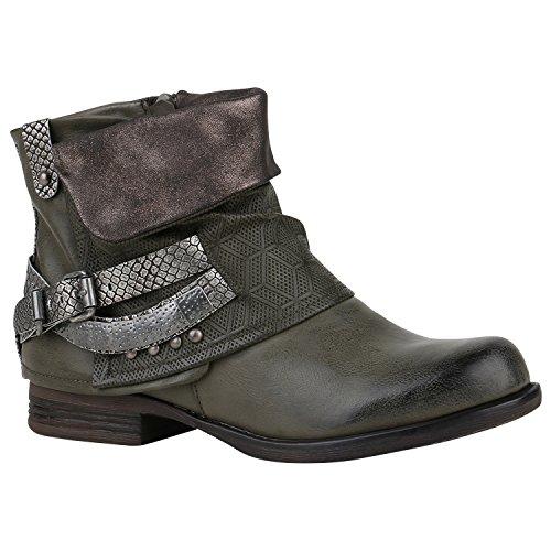 Flandell Damen Glitzer Boots Stiefeletten Dunkelgrün Stiefelparadies Biker OSTqzwUU