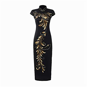f9f9fb95f2eabd YAN Femmes Chinois Robe Satin Slim Robes Stand col Manches Courtes ...