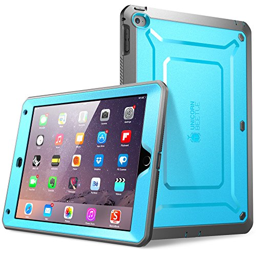 iPad Air 2 Case, SUPCASE [Heavy Duty] Apple iPad Air 2 Case [2nd Generation] 2014 Release [Unicorn Beetle PRO Series] Full-body Rugged Hybrid Protective Case with Built-in Screen Protector (Blue)