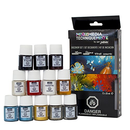 Pebeo 754801US Mixed Media Discovery Set of 12 Assorted Paint Colors, 20 ml