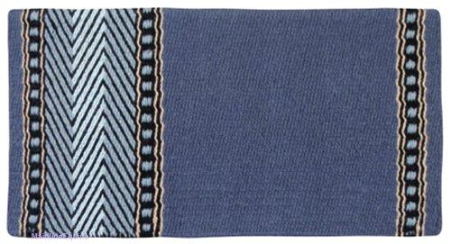 Mayatex Bar 8 Saddle Blanket, Slate Blue/Romantic Blue/Fawn/Black