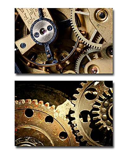Canvas Prints Wall Art Mechanical Gears Close Up Industrial Grunge Background
