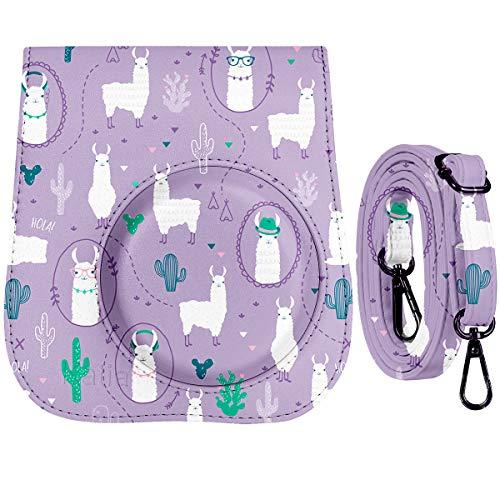 Katia Camera Case Bag Compatible for Fujifilm Instax Mini 9/ Mini 8+/ Mini 8 Instant Film Camera with Shoulder Strap and Photo Accessories Pocket – Purple Alpaca