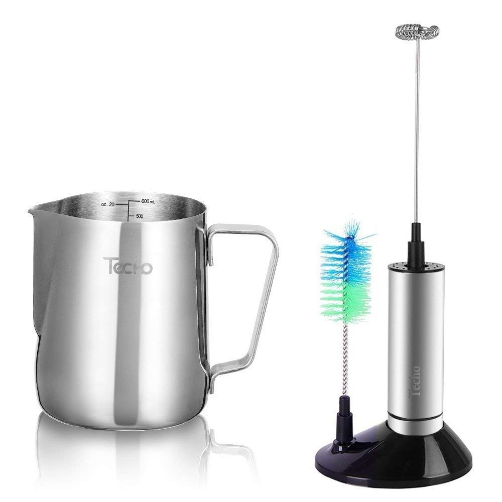 Techo Milk Frother Pitcher Set, Stainless Steel Handheld Milk Frother Wand & 20oz Stainless Steel Frothing Pitcher Cup