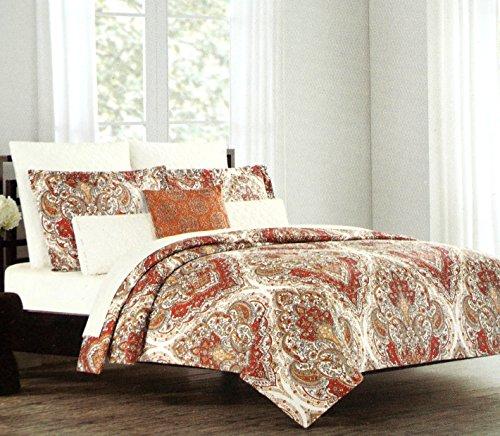 Tahari Home 3pc Duvet Cover Set Paisley Medallion Silver: Tahari Home Bohemian Style Red Orange White Full Queen