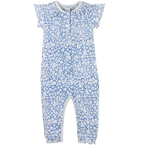 lothes Pima Cotton Short Sleeve Ruched One-Piece Jumpsuit Romper, 3-6 months, Big Floral-Blue on White ()