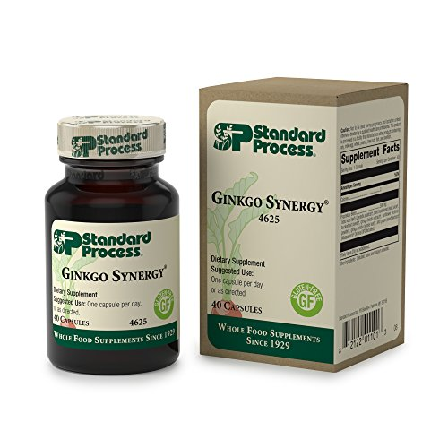 Standard Process - Ginkgo Synergy - Ginkgo Biloba Supplement, Supports Healthy Brain Function and Cognition, Promotes Antioxidant Activity, Gluten Free and Vegetarian - 40 Capsules