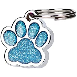 TnaIolr Personalised Engraved Glitter Paw Print Tag Dog Cat Pet ID Tags Reflective