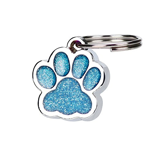 Hisoul Pet Cat Dog Paw Print Pendant, Personalised Engraved Glitter Paw Print Tag Dog Cat Pet ID Tags - Prevent Lost -