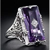 Nongkhai shop 925 Silver Large Amethyst Gem Band Ring Wedding Proposed Women Jewelry Size 6-10 (6)
