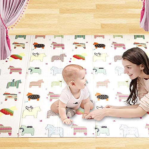 MAYbabe Folding Mats- Large and Waterproof Mat for Children to Play. Animals and Letters with Non-Slip Backing,No Chemical Smell, Safe and Fun Crawl Mat for Children (79'X71')