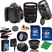 Great Value Bundle for 6D DSLR – 24-105MM L + 75-300MM III + 2PCS 32GB Memory + Wide Angle + Telephoto Lens + Case