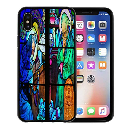 Emvency Phone Case for Apple iPhone Xs case,Prague Czech Republic April Stained Glass Window in St Vitus Cathedral Designed by Alphonse Mucha for iPhone X Case,Rubber Border Protective Case,Black