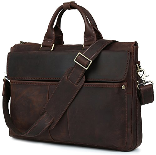 Iswee vintage leather briefcase for men 16'' laptop bag crossbody shoulder bag messenger bag (Dark Brown) by Iswee