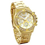 JewelryWe Luxury Women Men Unisex Bling Gold Tone Stainless Steel Band Quartz Wrist Watch