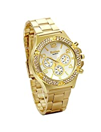 JewelryWe Luxury Women Men Unisex Gold Tone Stainless Steel Band Quartz Wrist Watch