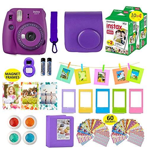 Fujifilm Instax Mini 9 Camera Purple + 40 Instant Fuji-Film Sheets, Instant Camera Case + 14 PC Instax Accessories Bundle, Fuji Mini 9 Kit Gift, 2 Albums, Lenses, 5 Desk Frames+ 60 Stickers