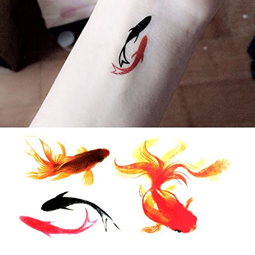 Amazon Com Oottati Small Cute Temporary Tattoo Goldfish Pisces