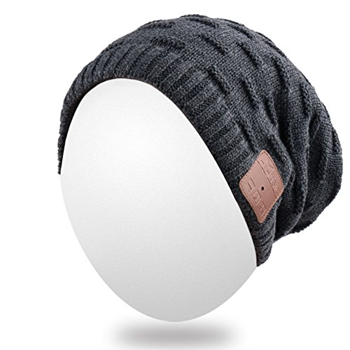 Qshell Unisex Washable Trendy Bluetooth Music Beanie Hat Cap Scarf w/ Wireless Headphones Headsets Earpieces Mic Hands Free for Lifestyle Gym Sports Fitness Running Skiing Snowboard Hiking - Black