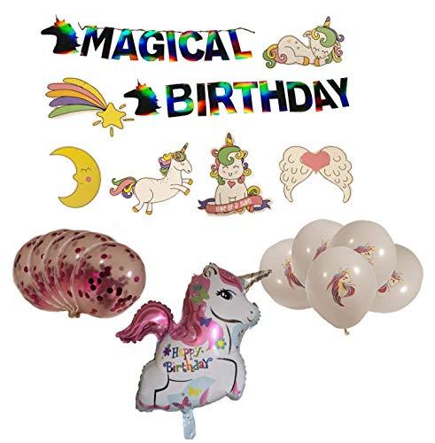 Dan Van Unicorn Birthday Party Supplies – Glitter hanging swirls | Colorful foil balloon | Magical Iridescent birthday banner | Latex unicorn imprinted balloons | Confetti balloons | Party Kit | Party Decorations | ()