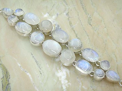Genuine Moonstone 925 Sterling Silver Overlay Handmade Fashion Bracelet Jewelry