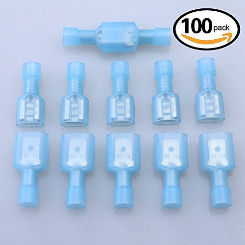 Glarks 100pcs 16-14 Gauge Fully Insulated Female Male Spade Nylon Quick Disconnect Electrical Insulated Crimp Terminals Connectors Assortment Kit (Bullet Connector Kit compare prices)
