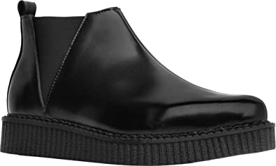 T.U.K. A9177 Unisex Black Leather Pull on Pointed Platform Chelsea Creeper  Ankle Boot
