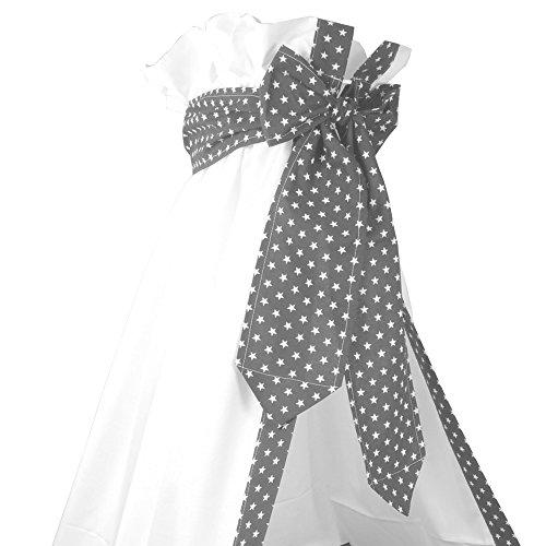 Sugarapple Baby Betthimmel mit Schleife für Babybetten oder Kinderbetten 150 cm Höhe x 200 cm Länge, Babybett Babyhimmel Vorhang aus 100% Baumwolle, Grau mit weißen Sternen