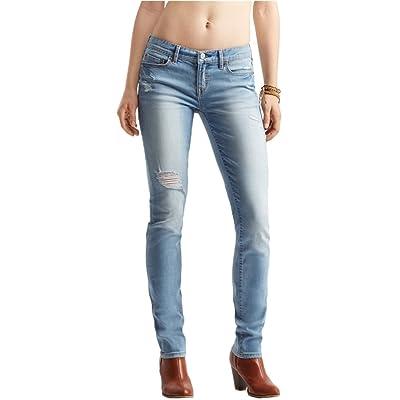 Aeropostale Womens Skinny Destroyed Stretch Jeans