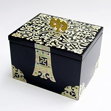 Joyero con Madreperla Diseño de Flores Madera Negra Lacrada Bisutería Cofre de Regalos y Tesoros Anillos Collares Caja Organizador: Amazon.es: Hogar