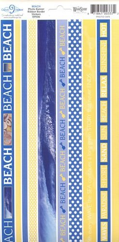Beach Photo Banner Ribbon Border Cardstock Scrapbook Stickers (Cloud 9 Design Photo Banner)