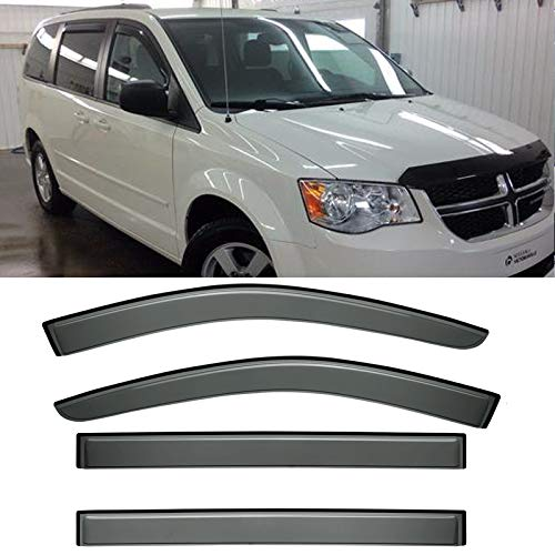 - IINAWO 4x For 2008-2016 Chrysler Town & Country 2008-2016 Dodge Grand Caravan Sun Rain Guard Vent Shade Side Window Wind Deflectors Window Visors
