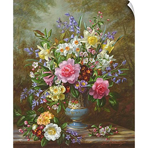 Bluebell Vase - CANVAS ON DEMAND Bluebells, Daffodils, primroses and Peonies in a Blue vase Wall Peel Art Print, 40
