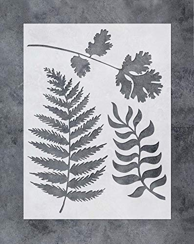 GSS Designs Wall Painting Leaf Stencils - Fern Wall Art Painting Airbrush Stencils (12x16 inch) - Painting Tools for Wood Canvas Furniture Wall Home Decor (SL-055))