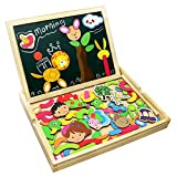 Fajiabao Wooden Educational Toys, Double Side Magnetic Cute Animal Jigsaw Puzzle Drawing Board,...