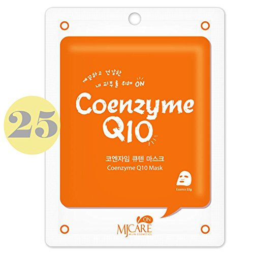 Pack of 25, The Elixir Beauty Korean Cosmetics MJ On Collagen Essence Full Face Facial Mask Sheet, Coenzyme Q10 - Essence Q10
