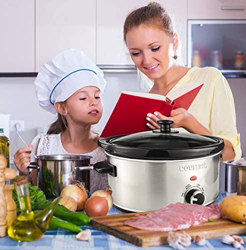 Courant Oval Slow Cooker Crock with Easy Options 35 Quart Dishwasher Safe Pot Stainless Steel
